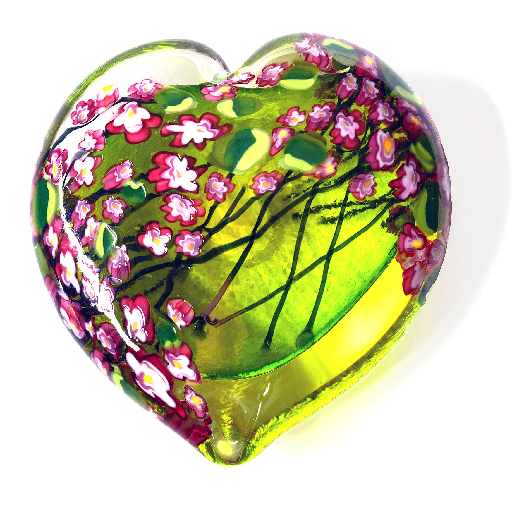 Cherry Blossom Lime Heart Paperweight